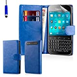 32nd® Book wallet PU leather flip case cover for BlackBerry Classic Q20 - Deep Blue