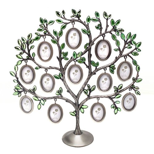 - QTMY Metal Crystal Family Tree with 12 Hanging Picture Frames Collage Desk Ornaments