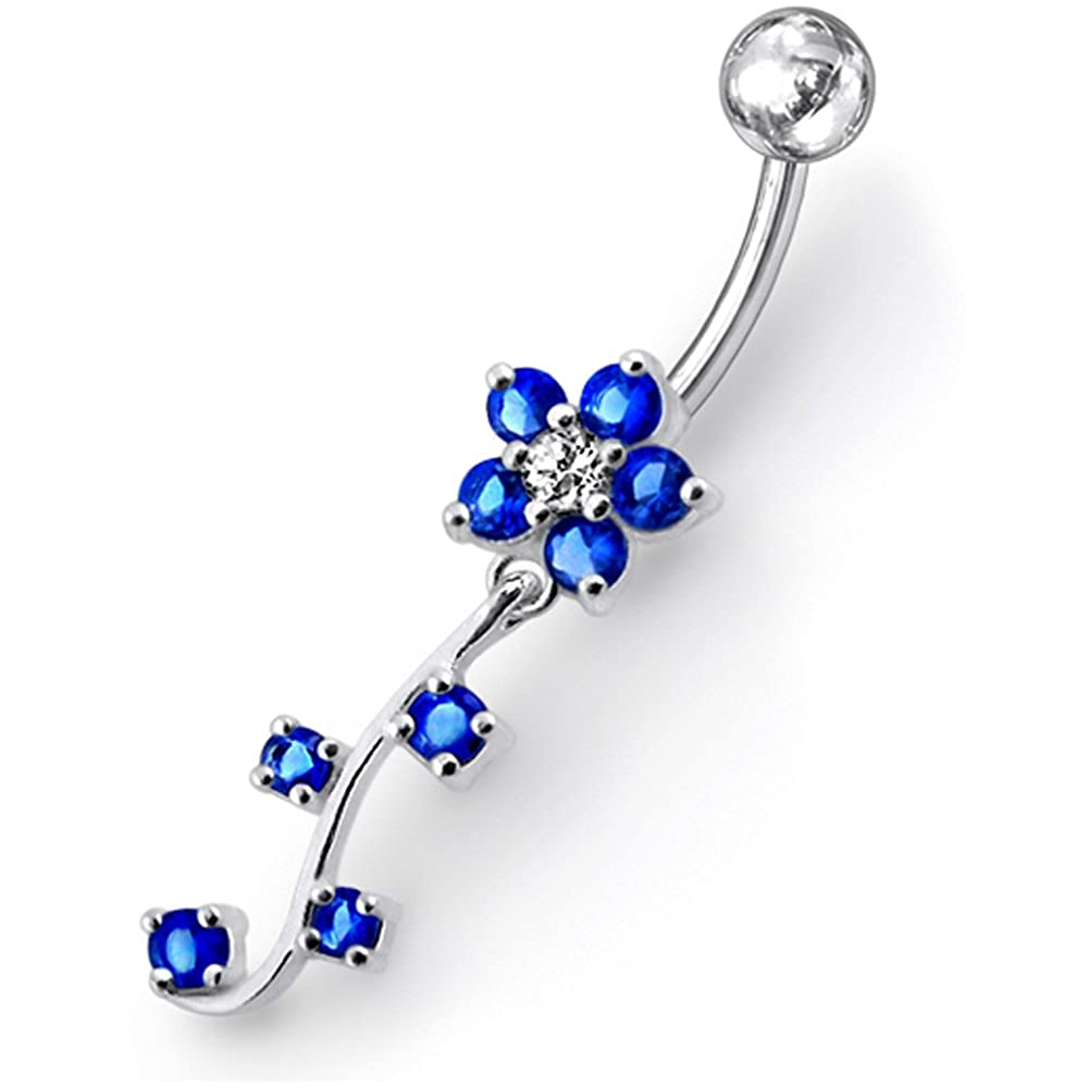 Fancy Flower with Leaf Dangling 925 Sterling Silver with Stainless Steel Belly Button Navel Rings