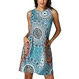 Kim88 Womens Dresses Sleeveless O-Neck Floral Print Vintage Beach Loose Skirts (L)