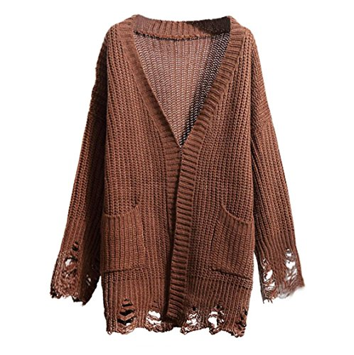 Womens Round Neck Casual Side Slits Long Tops (Coffee) - 9