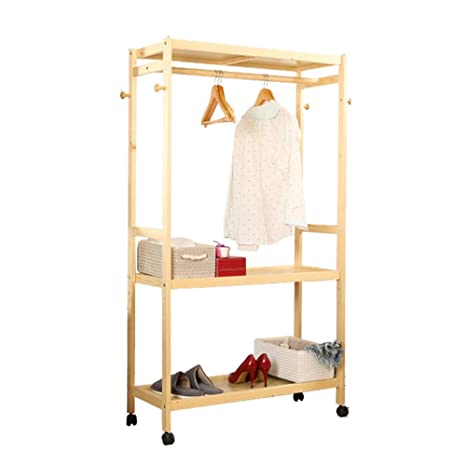 Amazon.com: ZHIRONG - Perchero de madera maciza para ropa de ...