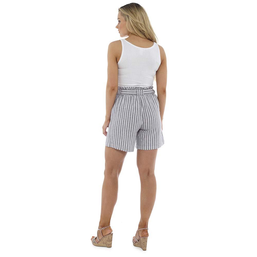 Sterling Sports/® Ladies Women Girl Linen Paper-Bag Waist Shorts Summer Beach Holiday Casual Black /& Khaki Grey Stripe Stone Stripe 10 12 14 16 18 20 UK New