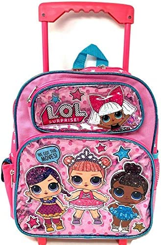 """L.O.L\""""we got the moves\"""" Small School Rolling Backpack 12\"""" Girls Bag"""