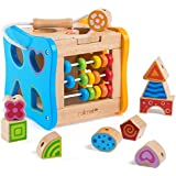 Yikky Multifunction Wooden Activity Center Preschool Education Learning Cube Toys Shape Sorter for Age 2+ Years Toddlers