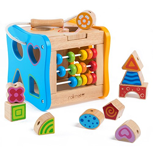 rolimate Colorful Preschool Early Development Wooden Educational Game Toy Gift Box - Activity Centers - Best Birthday Pre-Kindergarten Gift Toy for Age 18 Month and Up Kids Toddlers Baby (2.0)