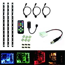 RoLightic LED Light Strip PC Computer Kit, Black PCB,3 Pcs of 1ft ( 30cm ) LED Waterproof Strip Lights for Mid Tower Case,Screen, Background Accent lighting with Remote Control, Led Strip Connector