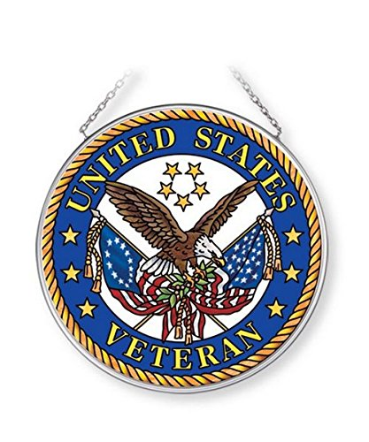 Navy Suncatcher (Amia United States Veteran Glass Sun Catcher, Multicolor)