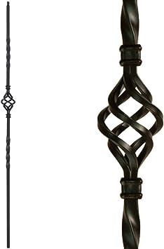 Balaustres de hierro forjado (caja de 10) para escaleras de una sola cesta de metal escalera – huecos de 1/2 pulgadas de una sola cesta de hierro cuadrado (negro satinado): Amazon.es: Bricolaje