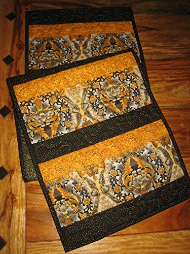 Black, Gold and Gray White Paisley Quilted Table Runner, Dining Coffee Table, 13.5x52 in. (Gold Silver Bureau)