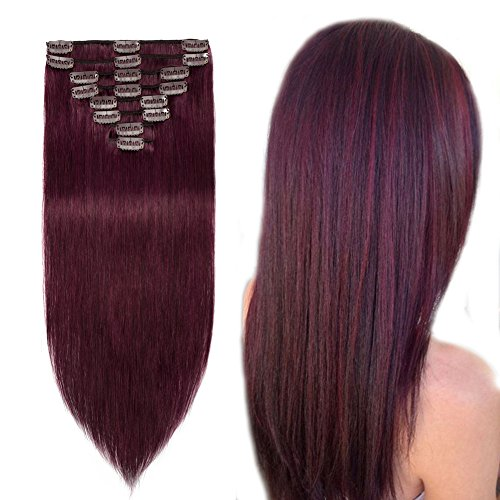 Clip in 100% Remy Human Hair Extensions #99j Burgundy Wine Red 8