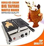 Open Mouth fish Taiyaki Waffle Maker 110V Professional Nonstick (Grill / Oven for Cooking Open Mouth fish Ice Cream Filling Taiyaki Waffles Japan and Korean style)
