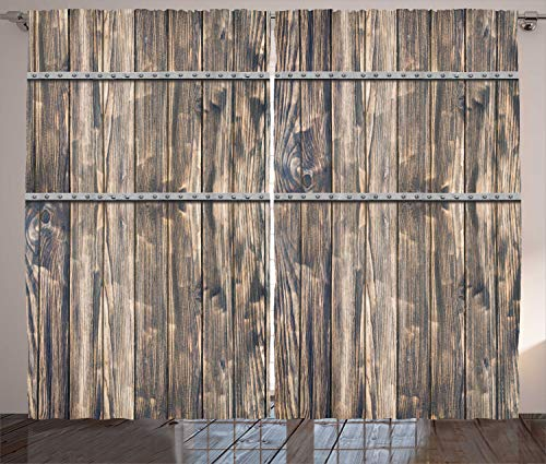 Ambesonne Rustic Curtains, Image of Wooden Planks with Screws and Nails Farmhouse Theme Log Cabin Print, Living Room Bedroom Window Drapes 2 Panel Set, 108 W X 84 L Inches, Brown Grey