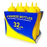 New Star Foodservice 26610 Squeeze Bottles, Plastic, Wide Mouth, 32 oz, Yellow, Pack of 6