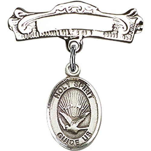 Sterling Silver Baby Badge with Holy Spirit Charm and Arched Polished Badge Pin 7/8 X 7/8 inches by Unknown