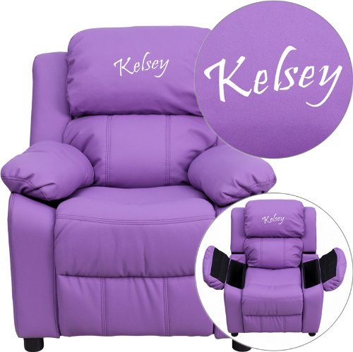 Price comparison product image Personalized Deluxe Kid's Recliner Upholstery: Lavender Vinyl