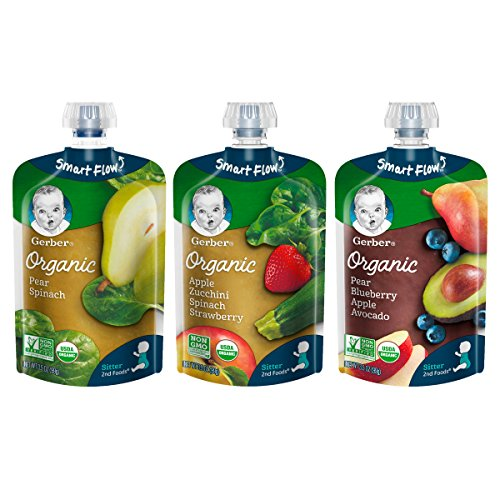 Gerber Purees Organic 2nd Foods Baby Food, Fruit & Veggie Variety Pack 3, 3.5 Ounce, 18 Count