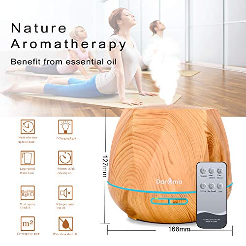 550ml Essential Oil Diffuser, Daroma Upgraded Remote Control 6 in 1 Aromatherapy Ultrasonic Cool Mist Humidifier, 7 Color Changing Mood Lights & Waterless Auto-Off for Home Office Gift, Light Wood