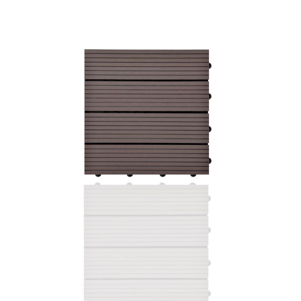 SIENOC WPC DIY teja la corrosi/ón anti del suelo al aire libre compuesto pl/ástico de madera 30x60 cm, 11 piezas Nuevo marr/ón claro