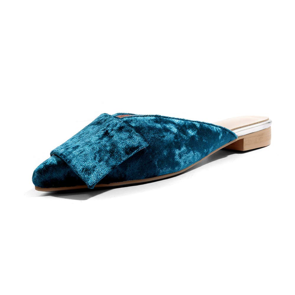 Nine Seven Womens Suede Leather Pointed Toe Chunky Heel Mule Handmade Glossy and Comfortable Summer Sandal Shoes