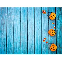 L2G 7X5ft (220cmX150cm)Halloween Backdrops Pumpkin Lights Blue Wood Background for Children Photography