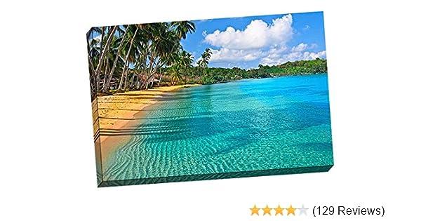 Amazoncom Paradise Beach Stretched Canvas 24x36 Wall Art Prints