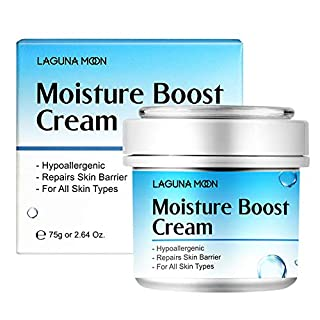 Face Moisturizer for Women, Lagunamoon Hyaluronic Acid Face Cream to Hydrate and Soothe Dryness for All Skin Type, Oil-Free, Fragrance-Free, Non-Comedogenic - 75g/2.64 oz