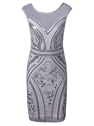 VIJIV 1920s Great Gatsby Prom Inspired V Neck Beads Sequin Flapper Midi Bodycon Party Dress with Sleeves Silver White