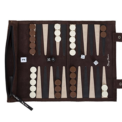 Design Backgammon Set (Classy Classics Backgammon Travel Set - Leather Roll Up Board Game - Luxury Unique Portable Small Design - With Fancy Storage Pouch for Checkers & Dice - Gift Box & Free Rules Mini Manual)