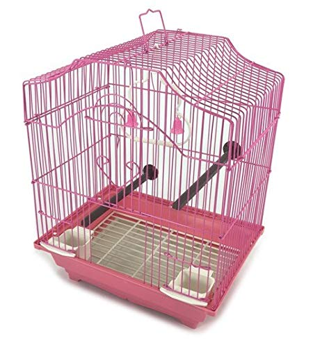 Bird Cage Kit Pink Starter Set Perches Swing Feeders Scalloped Top Small -