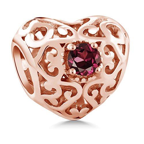 Gem Stone King 0.24 Ct Red Rhodolite Garnet 18K Rose Gold Plated Silver Bracelet Bead Charm