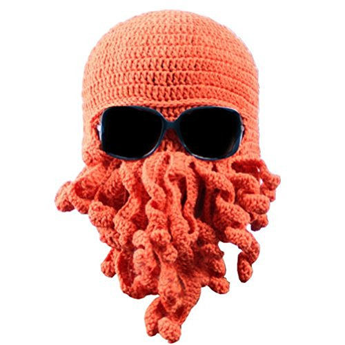 Dealzip Inc Fashion Orange Winter Warm Novelty Unisex Knitted Wool Funny Octopus Mask Beard Caps Crochet Beanies Costume Men Women - Hats For Male Face Round