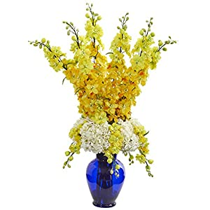 Nearly Natural 1657-YL Delphinium and Hydrangea Artificial Blue Vase Silk Arrangements Yellow 21