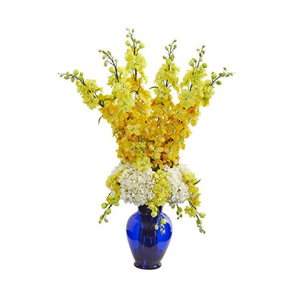 Nearly-Natural-1657-YL-Delphinium-and-Hydrangea-Artificial-Blue-Vase-Silk-Arrangements-Yellow