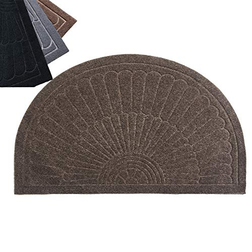 (YK Decor Front Door Mat Half Round Inside Doormat Outdoor Entry Mat Non Slip Mud Dirt Trapper Mat Indoor Entrance Mat Rug Washable (Coffee))