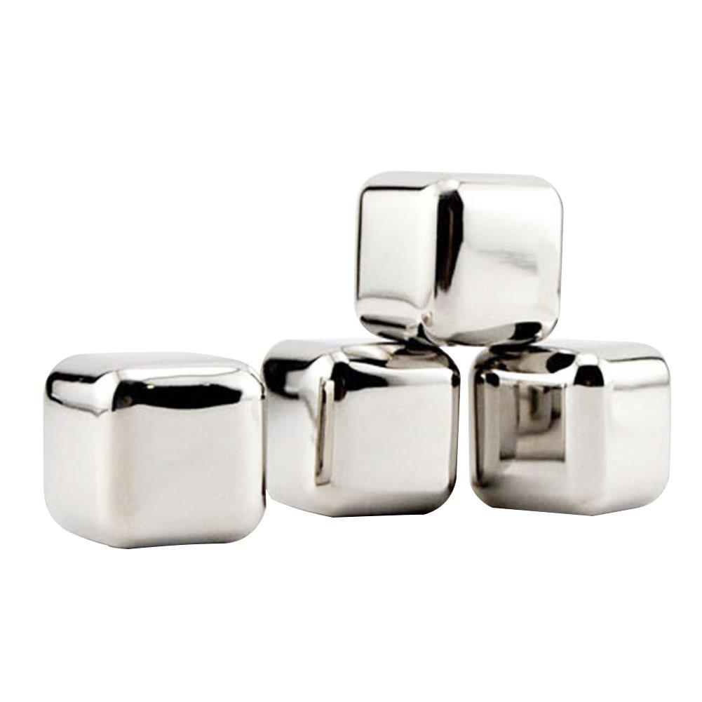 1 unidad de cubito de hielo solamente, no se incluye el vaso Jiayuane piedras de whisky Cubitos de hielo reutilizables Piedras de refrigeraci/ón Rocas para vino, Cubitos de hielo de acero inoxidable