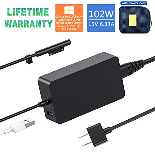 (Original Quality) Surface Book 2 Charger,102W 15V 6.33A Power Adapter Charger for Microsoft Surface Laptop Surface Go Surface Pro 6 Pro 5 Pro 4 Pro 3 with USB Charging Port and 6ft Power Cord