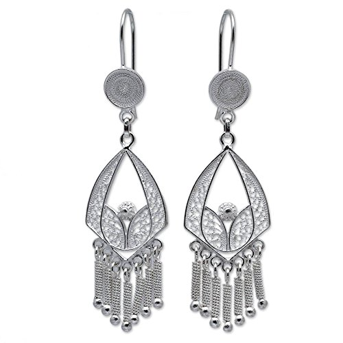 NOVICA .925 Sterling Silver Chandelier Bridal Earrings 'Inca ()