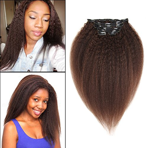 90gram Dark Brown Thick Hair Extensions Kinky Yaki Straight Clip in Human Hair Extensions Double Weft Brazilian Unprocessed Virgin Hair Grade 7A 7Peices/set for American Black Women (70g 12