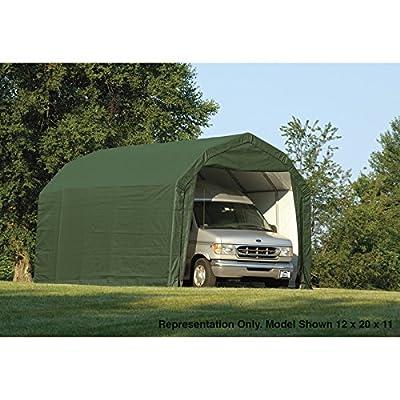 ShelterLogic 12Ft.W Homestead Barn Style Garage - 24ft.L x 12ft.W x 11ft.H, Green, Model# 90154