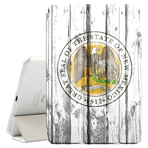 FJCases New Mexico Seal The Land of Enchantment Wood Pattern Smart Cover Stand + Back Case with Auto Sleep/Wake Function for Apple iPad Pro 11