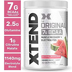 XTEND Original BCAA Powder Watermelon Explosion – Sugar Free Post Workout Muscle Recovery Drink with Amino Acids – 7g…