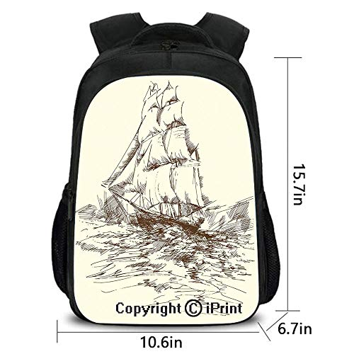 Boy Girl Backpack,Hand Drawn Sailboat Struggling in Ocean Wave Destination Historical Voyage Image,School Bag :Suitable for Men and Women,School,Travel,Daily use,etc.Cream Black