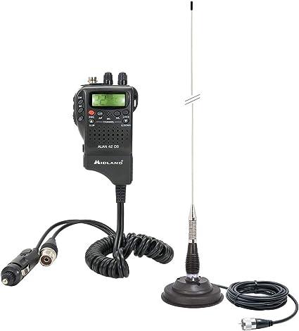 Midland Radio CB portátil Alan 42 DS, con ASQ, 12V + Antena CB PNI ML100, 100 cm de Largo, 26-28MHz, Soporte magnético de 125 mm Incluido