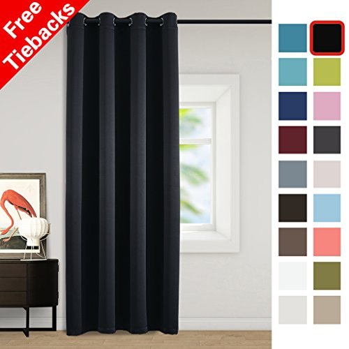 Yakamok Room Darkening Thermal Insulated Blackout Solid Curtain with Tie Back - 52 x 96 Inches, Black (Single (Solid Insulated Blackout Tie)