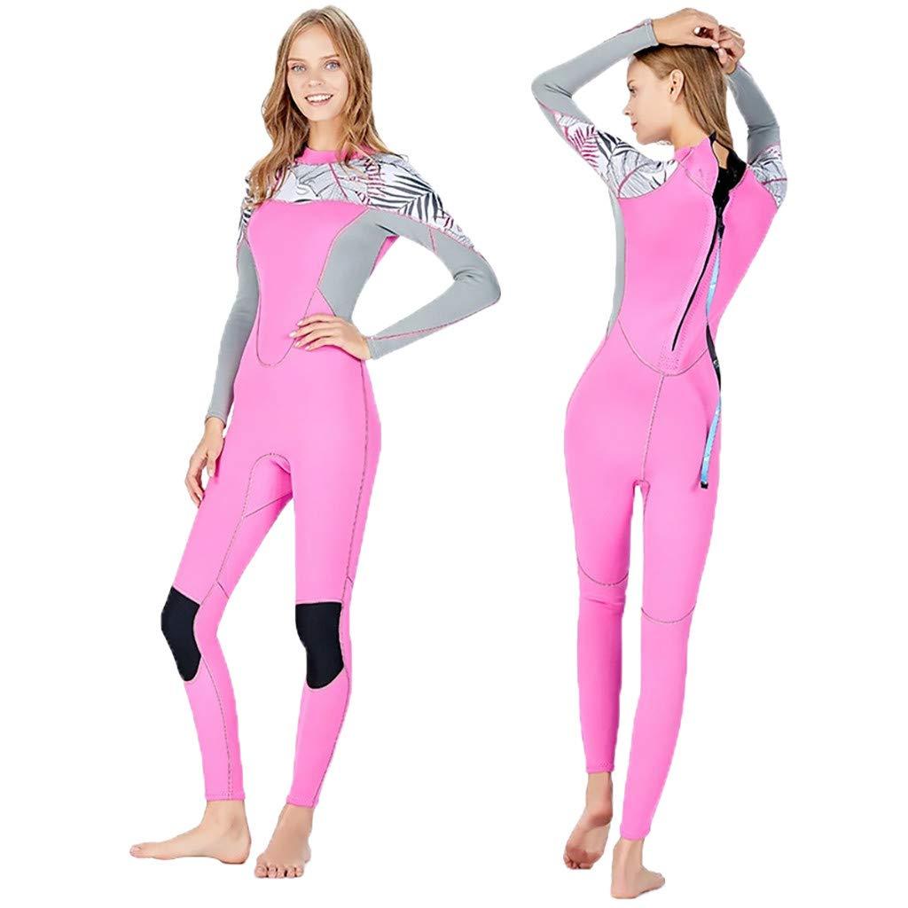 YEZIJIN Women's Stretch Full Body Wetsuit Surf Swim Diving Steamer Wetsuit top Long/Short Sleeve Pink by Yezijin_Swimsuit (Image #2)