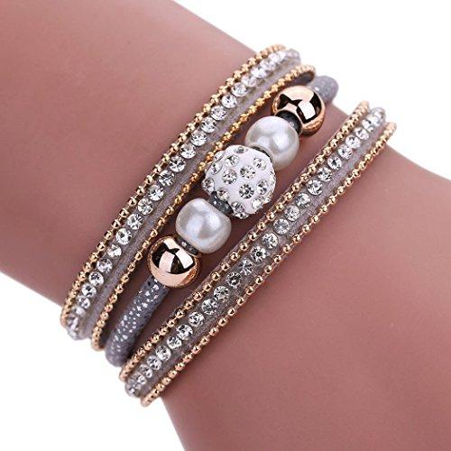 AutumnFall Women Bohemian Bracelet Woven Braided Handmade Wrap Cuff Magnetic Clasp (Gray)