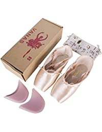 Professional Ballet Slipper Dance Shoe Pink Ballet Pointe Shoes with Toe Pad Protector for Girls Women