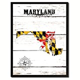 Maryland State Flag Canvas Print, Black Picture Frame Gifts Home Decor Wall Art Decoration