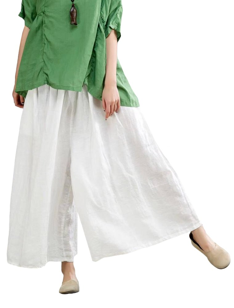 Mordenmiss Women's Linen Elastic Waistband Wide Leg Pants Trouser White